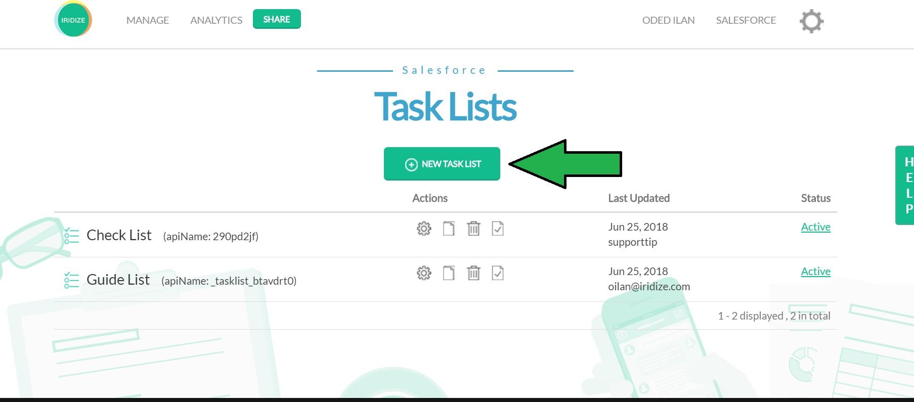 Task List / Onboarding Widget – Iridize Knowledge Base